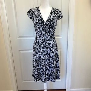 LOFT Black and White Floral Print Faux Wrap Dress